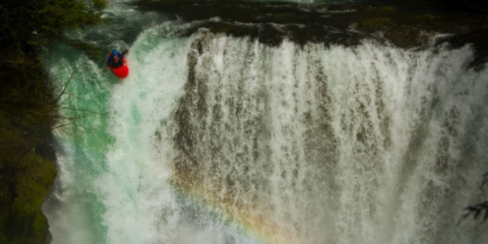 Throwing paddle off the waterfall