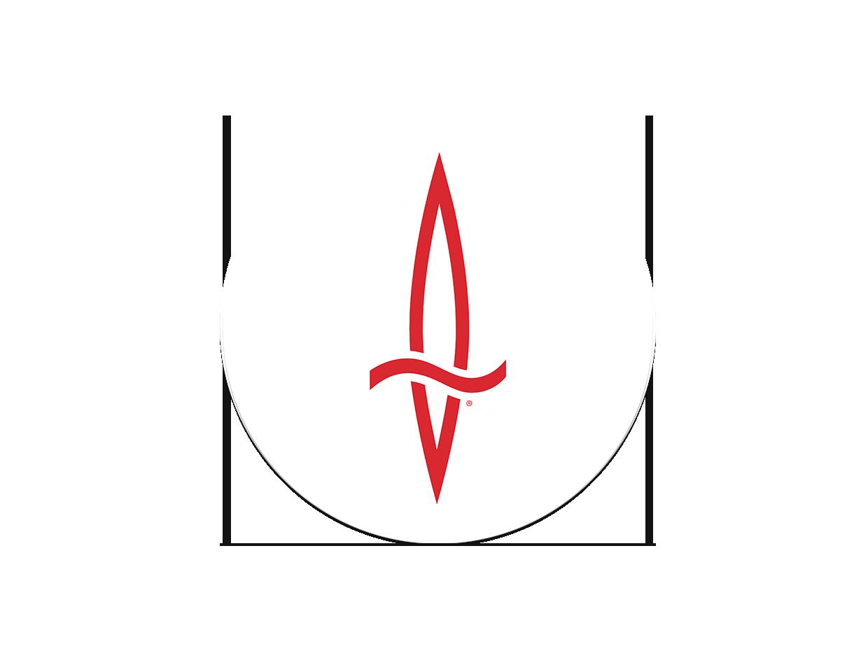 Dagger Icon Logo Sticker - White Circle